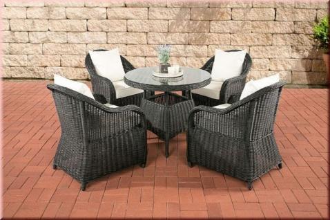 5-tlg Sitzgruppe Dining Lounge Gartenmöbel Sessel Kissen 5 Farben Tisch rund Rattan schwarz CL-Fabio