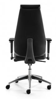 Bürostuhl Echt Leder schwarz Armlehnen höhenverstellbar Kopfstütze Synchronmechanik M-Best - Vorschau 4