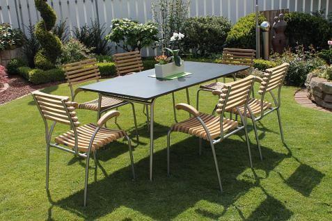 5-tlg. 7-tlg. Dining Set Sitzgruppe Teakholz Edelstahl 2 Varianten LC-Kenia