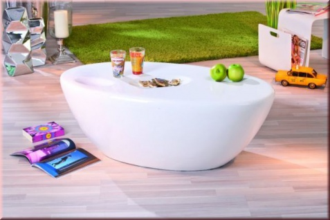 Couchtisch oval Fiberglas Hochglanz weiß eingearbeitete Mulden L-Gala