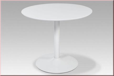 Tisch Esstisch rund Ø 90 cm hochglanz weiß R-Jimmy