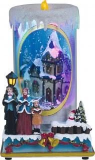 Beleuchtete Weihnachtskerze 9 bunte LED 8 Weihnachtslieder Schneekugel Schneefall H-Kerze