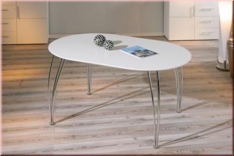 Tisch Esstisch Ausziehtisch oval ausziehbar weiß L-Oliviero