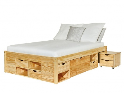 Bett 4 Größen 90-180 cm Lattenrost Nachttisch Schubfächer Komforthöhe Massivholz natur L-Chars