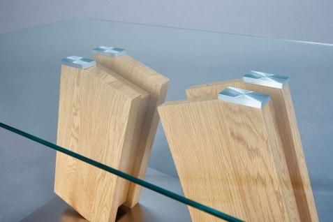 Couchtisch rechteckig 110 x 60 cm Materialmix Wildeiche Edelstahl Glas L-Oxa - Vorschau 2
