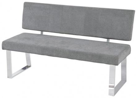 Sitzbank Rückenlehne Bank 140 cm Webstoff grau gepolstert bis 360 kg R-Stella - Vorschau 1