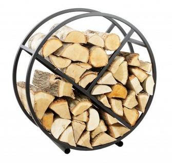 Kaminholzständer rund 3 Fächer Stahl schwarz handgefertigt Brennholzregal N-BR-139