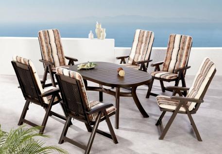 13-tlg. Sitzgruppe Klappsessel Auflagen Tisch Gartenmöbel 6 Dessins BF-Saola-13