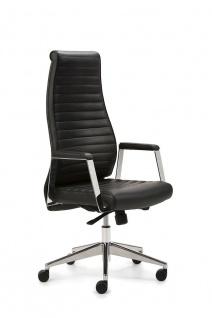 Bürostuhl Leder schwarz Drehsessel Synchronmechanik Gewichtseinstellung M-Chef - Vorschau 1