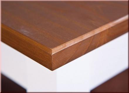 Couchtisch rechteckig Landhausstil Massivholz lackiert 2-farbig sepia-braun weiß L-Wendy-2 - Vorschau 4
