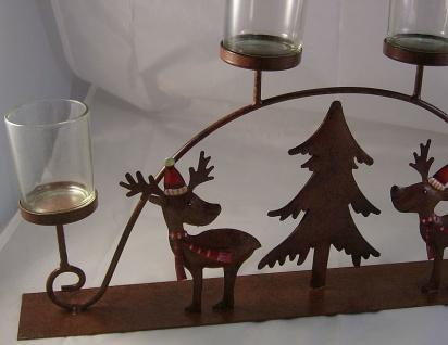 Teelichthalter Rentier Metall braun 4x Glas Schwibbogen Rost-Optik außen Weihnacht F-Rudolf - Vorschau 5