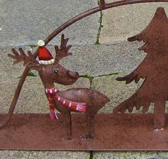 Teelichthalter Rentier Metall braun 4x Glas Schwibbogen Rost-Optik außen Weihnacht F-Rudolf - Vorschau 4