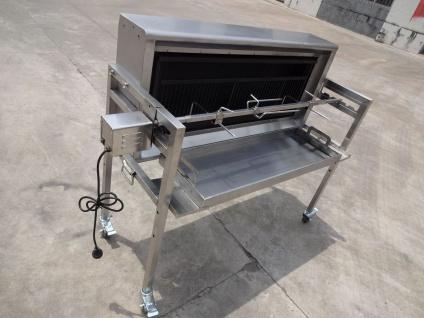 Grill Spanferkelgrill Holzkohlegrill bis 70 kg Edelstahl Rollen Motor CL-Bacon - Vorschau 3