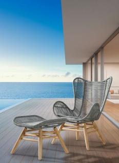 2-tlg. Relax Gartensessel inkl. Fußhocker Fishbone-Geflecht Grandis Massivholzgestell BF-Asca