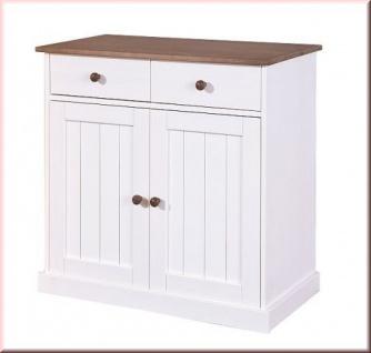 Kommode einfarbig zweifarbig Landhausstil Massivholz sepia-braun weiß 90 cm L-Wendy-3