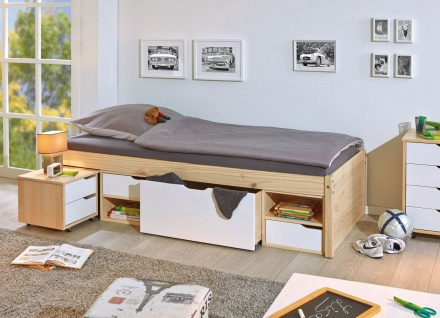 Bett Doppelbett inkl Nachttische Schubkästen 5 Größen 80-180 breit Massivholz natur weiß L-Gorlon-B