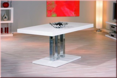 Tisch Esstisch Konferenztisch hochglanz weiß lackiert verchromt L-Prescino