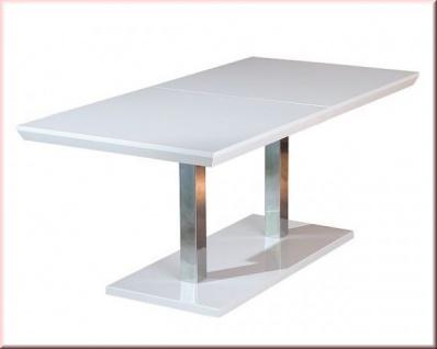 Tisch ausziehbar Konferenztisch Esstisch Ausziehtisch Hochglanz weiß Chrom L-Errision