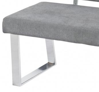 Sitzbank Rückenlehne Bank 140 cm Webstoff grau gepolstert bis 360 kg R-Stella - Vorschau 3
