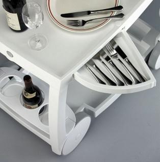 Servierwagen 6 Farben 2 Schubladen Flaschenhalter klappbar witterungsbeständig Butler BF-Ghost - Vorschau 2