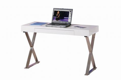 Schreibtisch Metall Hochglanz weiß L-Greato