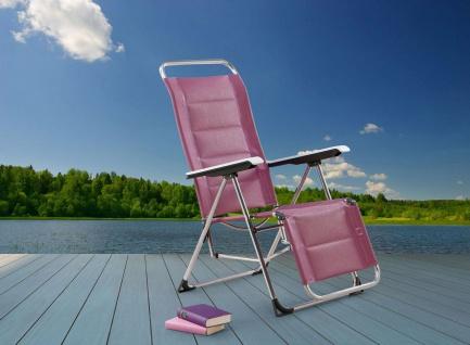 Relaxliege verstellbar Camping Liegestuhl silber lila Alugestell BF-Youth