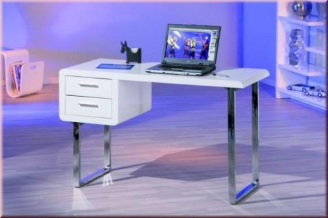 Schreibtisch Computertisch 2 Schubladen Hochglanz weiß Metall verchromt L-Chic