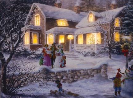 LED Bild Weihnachtsbild Nostalgie Winterlandschaft beleuchtet 14 warmweiße LEDs H-Sternsinger
