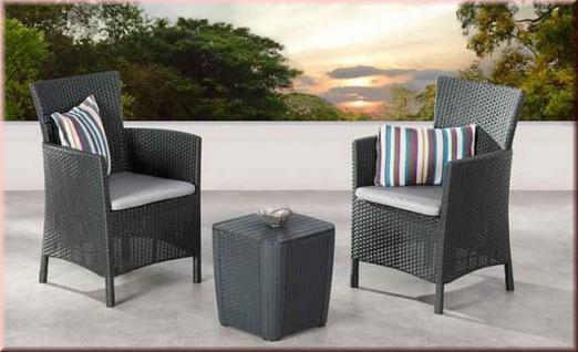 3-tlg Lounge Sitzgruppe Kissen 2 Sessel Tisch Aufbewahrungsbox Balkon-Set Rattan-Optik BF-Nizza