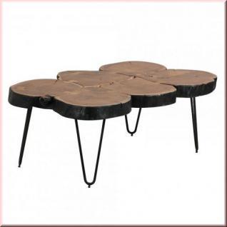 Couchtisch Massivholz 2 Holzarten Baumstamm Tischplatte Vollholz Unikat handgefertigt W-CB991509