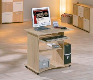 Computertisch Schreibtisch rollbar 3 Farben Sonoma Weiß Walnuß L-Delta