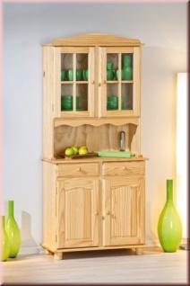 Vitrine Buffet Landhausstil Massivholz Kiefer 2 Farben natur weiß L-Alice