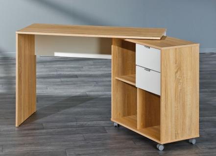 Schreibtisch schwenkbares Seitenmodul rollbar Sonoma-Eiche weiß 2 Schubfächer L-Flipp