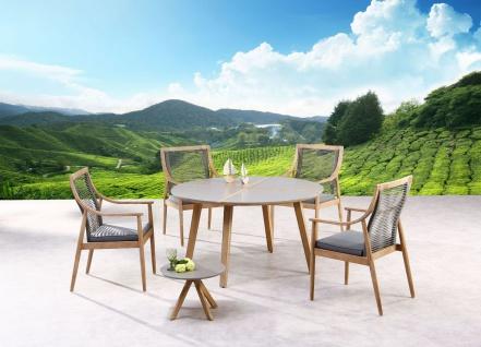Exklusiver Dining-Tisch rund 140 cm Gartentisch Massivholz Tischplatte Beton Holzintarsie BF-Bonito - Vorschau 2