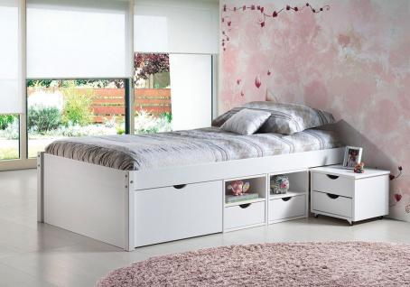 Bett Doppelbett Komforthöhe 5 Größen Massivholz weiß Lattenrost Schubkästen Nachttisch L-Telli - Vorschau 3
