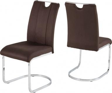 4er Set Stühle Wellenunterfederung Stuhl braun anthrazit Freischwinger belastbar 120 kg R-Finja