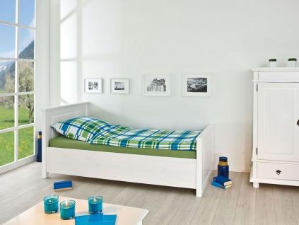 Bett Doppelbett Einzelbett 4 Größen Landhausstil Massivholz weiß Holzmaserung L-Dank-5 - Vorschau 2