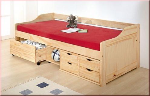 Bett Kinderbett 2 Farben Schubladen Schubfächer Massivholz weiß Kiefer natur Jugendbett L-Mixi