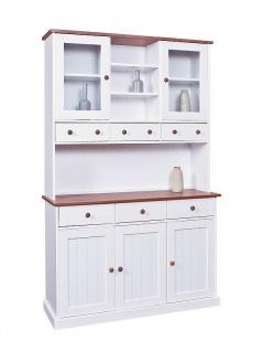 Buffet Vitrine Landhausstil Massivholz 2-farbig braun weiß Holzmaserung 5 Türen 6 Schübe L-Wendy-13