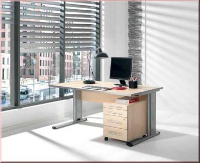 Büromöbel 2-tlg Büroeinrichtung 4 Farben Schreibtisch Rollcontainer S-W-6