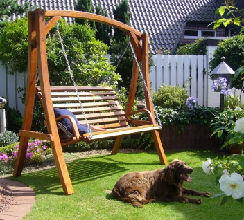 Holz Hollywoodschaukel Gartenschaukel Massivholz Lärche witterungsbeständig 208 cm breit LC-Rom