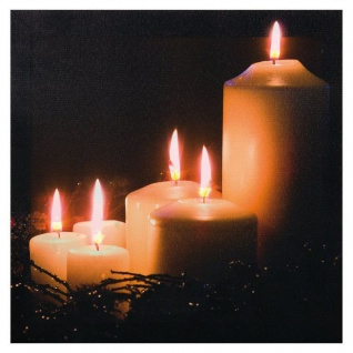 LED Bild Weihnachtsbild Leinwand 5 farbige LED Kerzen Flackerlicht H-Ambiente