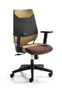 Bürostuhl 4 Farbkombinationen Drehstuhl höhenverstellbare Armlehnen Synchronmechanik M-Miko - Vorschau 2