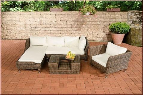 4-tlg Lounge Gartenmöbel Sofa Recamiere Sessel Tisch Kissen 5 Farben Rattan braun-meliert CL-Mayis-B