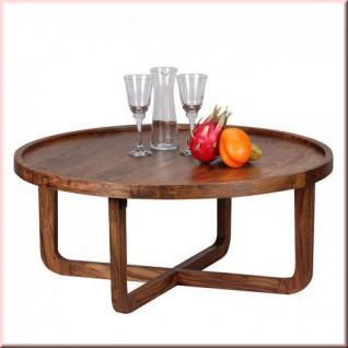 Couchtisch rund Ø 85 cm Massivholz 2 Holzarten Akazie Sheesham Unikat handgefertigt W-C851523