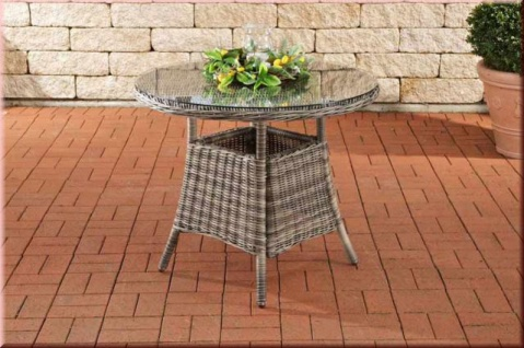 Gartentisch Ø 90 cm Tisch rund Polyrattan grau-meliert Glasplatte CL-Fabio-T