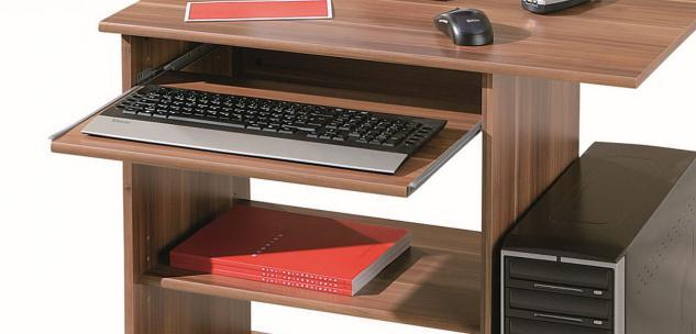 Computertisch Schreibtisch rollbar 3 Farben Sonoma Weiß Walnuß L-Dora - Vorschau 3