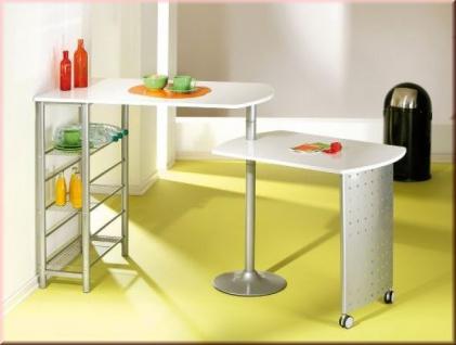 Küchentheke Stehtisch hochglanz weiß 2 Höhen drehbare Platte zusammenschiebbar L-Fimeno