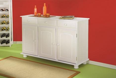 Sideboard Kommode 3 Farben Massivholz Kiefer weiß natur mocca Landhausstil L-Life
