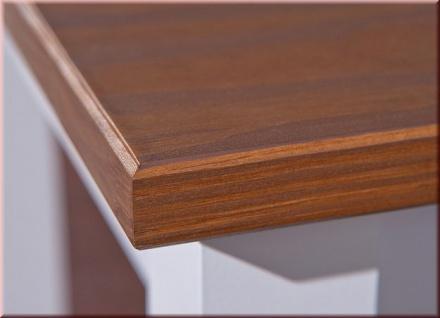 Couchtisch rechteckig Landhausstil Massivholz lackiert 2-farbig sepia-braun weiß L-Wendy-2 - Vorschau 3